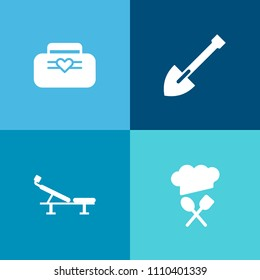 Modern, simple vector icon set on colorful background with exercise, training, fashion, modern, restaurant, sign, white, chief, shovel, equipment, bicycle, travel, luggage, seat, leather, brown icons