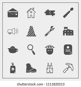 Modern, simple vector icon set with breakfast, kid, puzzle, sign, happy, building, hot, estate, asian, people, teapot, uniform, home, road, crane, young, japanese, glass, tea, envelope, dinner icons