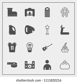 Modern, simple vector icon set with electric, adhesive, lamp, sport, musical, video, fire, game, shirt, grater, culture, white, man, male, bag, sticky, bulb, music, ancient, christmas, footwear icons