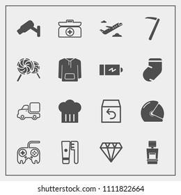 Modern, simple vector icon set with airplane, brush, rider, hygiene, surveillance, machine, motorcycle, truck, technology, xray, gem, departure, web, cross, return, button, restaurant, scan, kit icons
