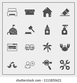 Modern, simple vector icon set with research, bird, reparation, dessert, laptop, pie, palm, technology, food, web, tool, bedroom, house, summer, bed, sea, service, crab, business, estate, sport icons