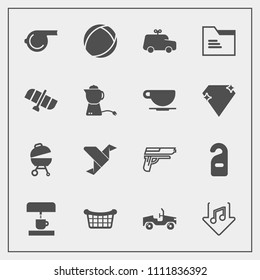Modern, simple vector icon set with creative, origami, car, childhood, vehicle, music, weapon, play, folder, hotel, referee, equipment, store, label, basket, coffee, barbecue, whistle, ball, art icons
