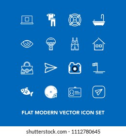 Modern, simple vector icon set on blue background with photography, clothing, sound, leather, fashion, seafood, communication, object, body, profile, business, toilet, id, blue, bag, identity icons