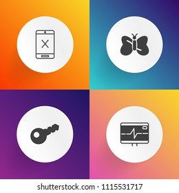 Modern, simple vector icon set on gradient backgrounds with television, blue, stop, close, subscription, cable, home, lock, coax, medicine, cut, heartbeat, door, cancel, cord, butterfly, insect icons