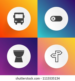 Modern, simple vector icon set on gradient backgrounds with road, acoustic, bus, instrument, transportation, business, piano, control, switch, passenger, deactivate, choice, concept, vehicle icons
