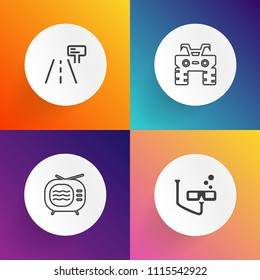 Modern, simple vector icon set on gradient backgrounds with extreme, metal, atv, sign, vintage, road, retro, vacation, quad, broadcasting, video, broadcast, travel, sea, water, highway, street icons