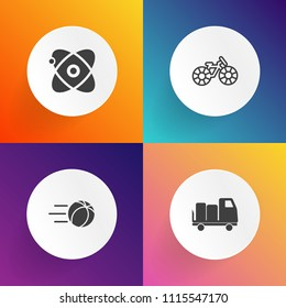 Modern, simple vector icon set on gradient backgrounds with competition, flying, team, champion, star, play, night, earth, delivery, truck, sky, cycle, bicycle, kick, auto, goal, wheel, sign icons