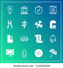 Modern, simple vector icon set on gradient background with business, banking, replace, environment, award, sport, phone, south, concept, fight, achievement, competition, bank, replacement, glove icons