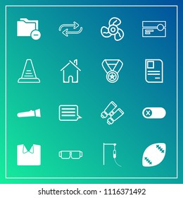 Modern, simple vector icon set on gradient background with electric, sunglasses, change, football, energy, sign, substitute, file, light, deactivate, data, watch, ventilator, medical, white, new icons