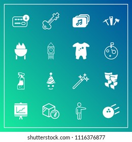 Modern, simple vector icon set on gradient background with fun, business, bottle, key, weight, package, repair, ball, blossom, nature, pointing, hammer, flower, box, bag, food, hand, bowling icons