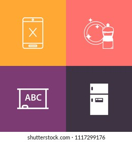Modern, simple vector icon set on colorful background with disconnect, house, household, home, chalk, wire, broom, empty, cut, fridge, education, cable, network, blank, subscription, black, cold icons