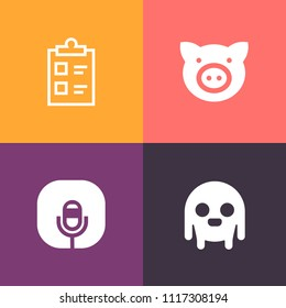 Modern, simple vector icon set on colorful background with piggy, sign, character, tick, monster, fiction, farming, document, pig, check, pork, checklist, extraterrestrial, ufo, agriculture, hog icons