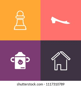 Modern, simple vector icon set on colorful background with play, construction, food, baby, shoe, knight, nutrition, architecture, sign, sport, success, home, kid, housing, door, game, healthy icons