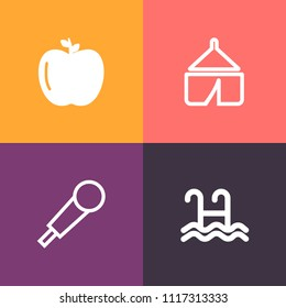 Modern, simple vector icon set on colorful background with tent, white, swim, green, nature, karaoke, water, music, landscape, hiking, holiday, vacation, organic, fresh, adventure, sport, mic icons