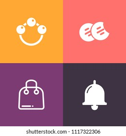 Modern, simple vector icon set on colorful background with sale, food, chocolate, hand, childhood, sweet, play, alert, baby, snack, paper, object, child, call, newborn, retail, dessert, bag, toy icons