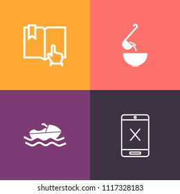 Modern, simple vector icon set on colorful background with transport, cable, soup, internet, marine, sign, television, subscription, pour, cord, meal, connection, wire, dish, kitchen, page, boat icons