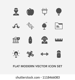 Modern, simple vector icon set with finance, kimono, medicine, salt, bank, food, gym, equipment, japan, technology, dentist, seasoning, dental, hair, light, planet, pepper, plug, fruit, concept icons
