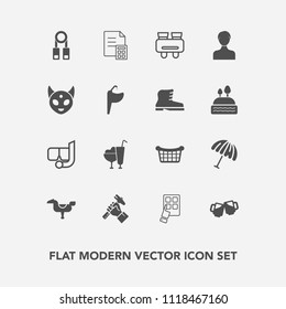 Modern, simple vector icon set with happy, water, basket, technology, business, weather, drink, modern, helmet, child, snorkel, beer, store, rain, dessert, mask, protection, builder, internet icons