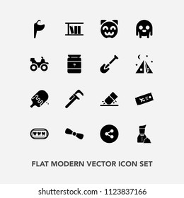 Modern, simple vector icon set with bow, airplane, sign, rubber, ice, button, water, flight, sink, eraser, tap, tool, asian, book, cream, travel, ufo, gift, media, kitty, cat, reparation, social icons