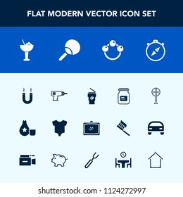 Modern, simple vector icon set with room, compass, kid, air, japan, alcohol, machine, cocktail, metal, drink, hand, north, clothing, hot, aluminum, bar, east, south, home, work, toy, fan, glass icons