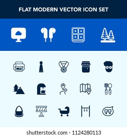 Modern, simple vector icon set with fashion, espresso, drink, printer, safe, finance, music, piece, jar, graphic, glass, award, style, map, tree, cloud, coffee, message, prize, king, road, honey icons