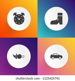 Modern, simple vector icon set on gradient backgrounds with time, boot, fashion, leather, leisure, arrow, asphalt, timer, pointer, alarm, driveway, shoe, sport, highway, bright, alley, city, fun icons