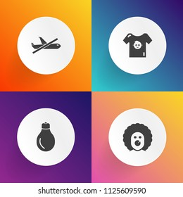 Modern, simple vector icon set on gradient backgrounds with sign, flight, fashion, airport, fear, clothing, man, energy, lightbulb, lamp, clothes, child, plane, clown, scary, innovation, creepy icons
