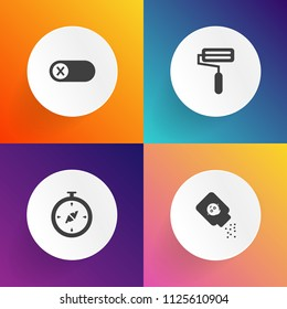Modern, simple vector icon set on gradient backgrounds with finger, deactivate, electricity, talcum, north, control, talc, object, electrical, activate, bottle, off, power, button, cosmetic, map icons