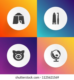 Modern, simple vector icon set on gradient backgrounds with tent, graphic, livestock, nature, care, map, piglet, pig, travel, swine, animal, adventure, camp, earth, tourism, continent, piggy icons