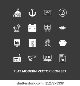 Modern, simple vector icon set on dark background with care, medical, marine, report, food, sweet, anchor, blackboard, annual, technology, doughnut, board, ice, military, security, notebook, gun icons