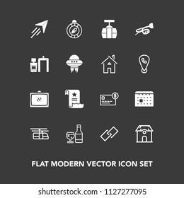 Modern, simple vector icon set on dark background with cable, timetable, home, business, red, rail, alcohol, blue, entertainment, calendar, room, television, building, plane, north, flight, east icons