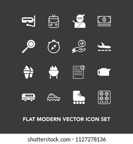Modern, simple vector icon set on dark background with fashion, drink, leather, boat, coffee, gas, mask, snorkel, ice, sport, cook, dessert, food, style, skating, contract, object, ninja, ship icons