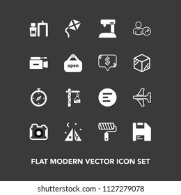 Modern, simple vector icon set on dark background with camera, north, roller, menu, aircraft, hammer, outdoor, photographer, travel, paint, sew, equipment, photo, video, xray, television, roll icons
