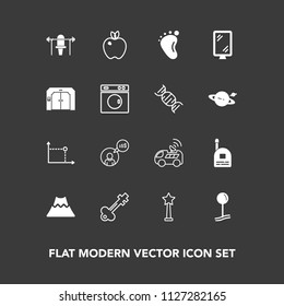 Modern, simple vector icon set on dark background with apple, door, baby, business, map, volcano, road, fruit, satellite, vintage, sport, mountain, work, landscape, computer, geometry, organic icons