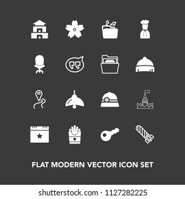 Modern, simple vector icon set on dark background with explosion, fire, map, star, route, chief, temple, road, music, key, navigation, restaurant, culture, hat, bulb, light, flower, bomb, travel icons