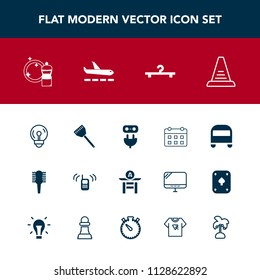Modern, simple vector icon set with comb, care, timetable, calendar, business, taiko, call, kitchen, beauty, cooking, brush, energy, ringing, power, fashion, day, bulb, broom, phone, concept, up icons