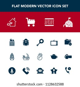 Modern, simple vector icon set with snow, child, house, metal, data, vintage, war, lamp, technology, monster, marine, temperature, rattle, document, folder, arctic, cooking, sea, key, business icons