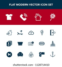 Modern, simple vector icon set with finance, id, key, cream, royal, food, estate, call, new, sign, house, add, property, door, sack, white, lollipop, mobile, phone, king, identity, home, shirt icons