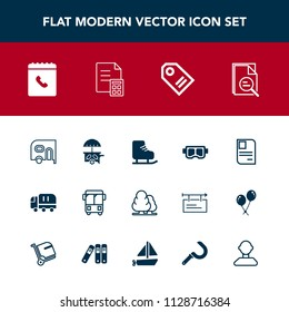 Modern, simple vector icon set with transport, winter, money, summer, book, id, cargo, food, banking, financial, tree, road, transportation, label, truck, card, car, phone, price, zoom, sale icons