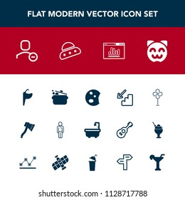 Modern, simple vector icon set with website, asian, spaceship, animal, man, tool, delete, axe, up, space, martini, account, downstairs, doughnut, bathroom, faucet, cook, cat, upstairs, male, ufo icons