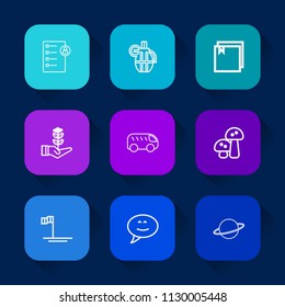 Modern, simple vector icon set on colorful long shadow backgrounds with interview, speech, ammunition, nature, growth, move, highway, military, hand, war, baja, checklist, job, life, edible icons.