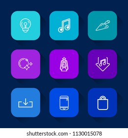 Modern, simple vector icon set on colorful long shadow backgrounds with night, equipment, shovel, lantern, celebration, present, bag, idea, star, gift, metal, lamp, power, download, light, tool icons.
