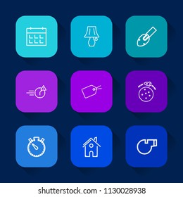 Modern, simple vector icon set on colorful long shadow backgrounds with night, tag, tool, date, home, sport, sign, technology, schedule, architecture, electric, late, watch, table, house, event icons.
