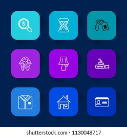 Modern, simple vector icon set on colorful long shadow backgrounds with search, pharaoh, culture, sand, identification, technology, boat, table, house, lamp, door, egyptian, concept, key, shirt icons.