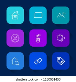 Modern, simple vector icon set on colorful long shadow backgrounds with night, hyperlink, real, summer, nature, search, talk, investment, rock, price, online, communication, chat, business, tag icons.