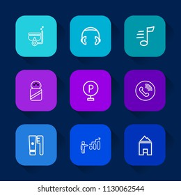 Modern, simple vector icon set on colorful long shadow backgrounds with salt, lot, car, water, road, listen, snorkeling, sport, studio, sound, mask, urban, summer, snorkel, health, music, call icons.