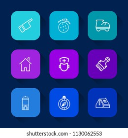 Modern, simple vector icon set on colorful long shadow backgrounds with roof, south, beautiful, luxury, , fun, room, east, spaceship, space, medical, lifestyle, leisure, roller, science, man icons.