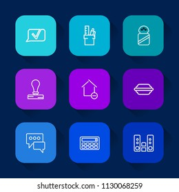 Modern, simple vector icon set on colorful long shadow backgrounds with property, sea, audio, button, seasoning, envelope, apartment, house, desk, office, stationery, sound, home, equipment icons.
