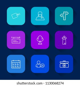 Modern, simple vector icon set on colorful long shadow backgrounds with landscape, internet, architecture, way, emergency, discount, calendar, status, arrow, kit, europe, cross, poster, service icons.