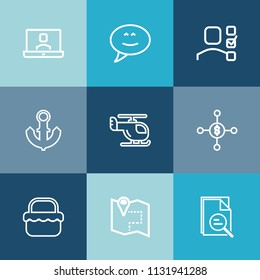 Modern, simple vector icon set on colorful blue backgrounds with video, park, personal, sky, pin, woman, technology, anchor, helicopter, finance, sea, grass, money, location, call, ship, message icons